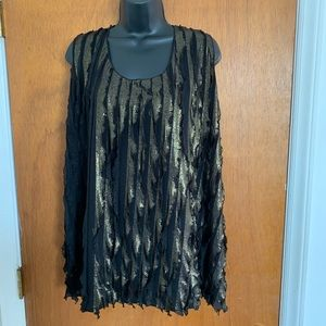 Sunny Leigh Woman Gold Black Blouse Size 2X